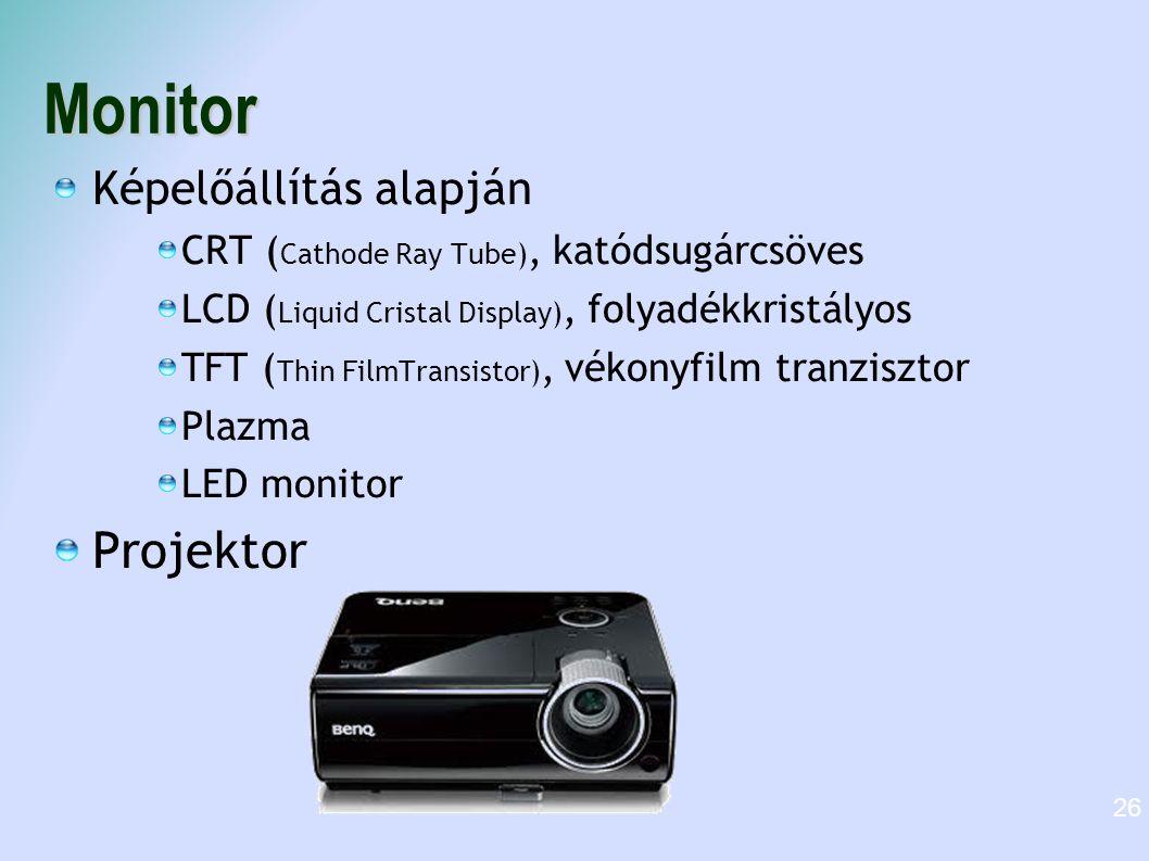 Monitor Projektor Képelőállítás alapján