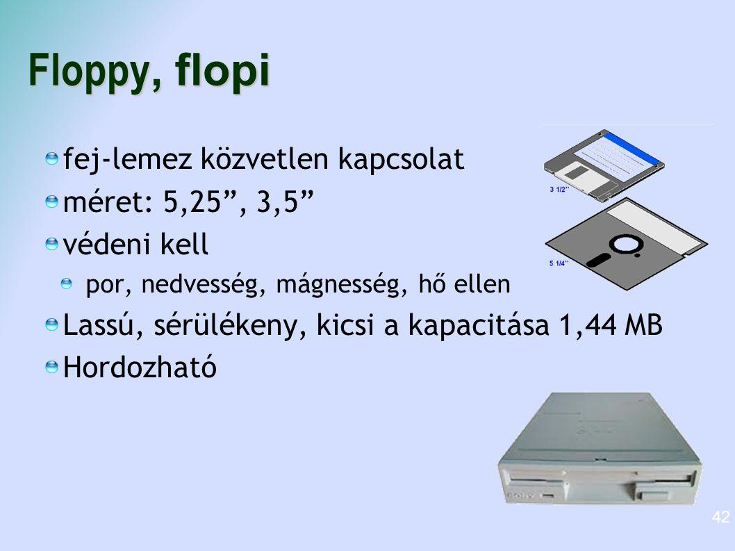 Floppy, flopi fej-lemez közvetlen kapcsolat méret: 5,25 , 3,5