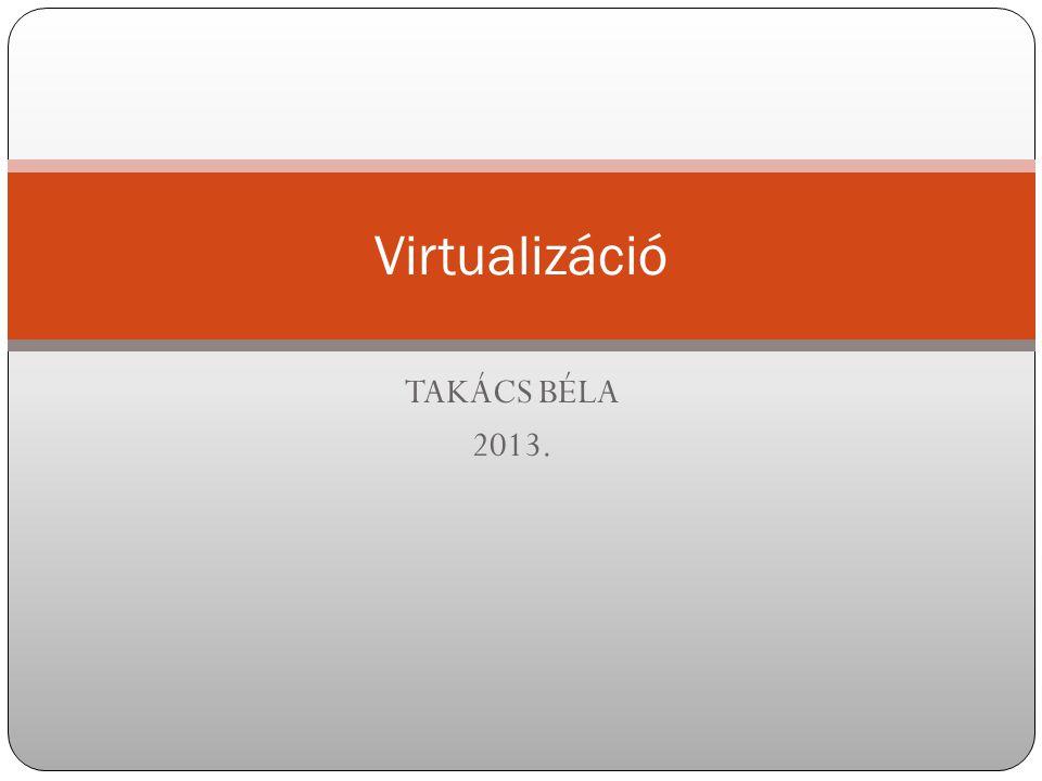 Virtualizáció TAKÁCS BÉLA 2013.