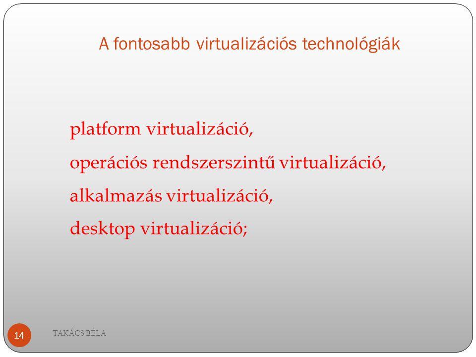 A fontosabb virtualizációs technológiák