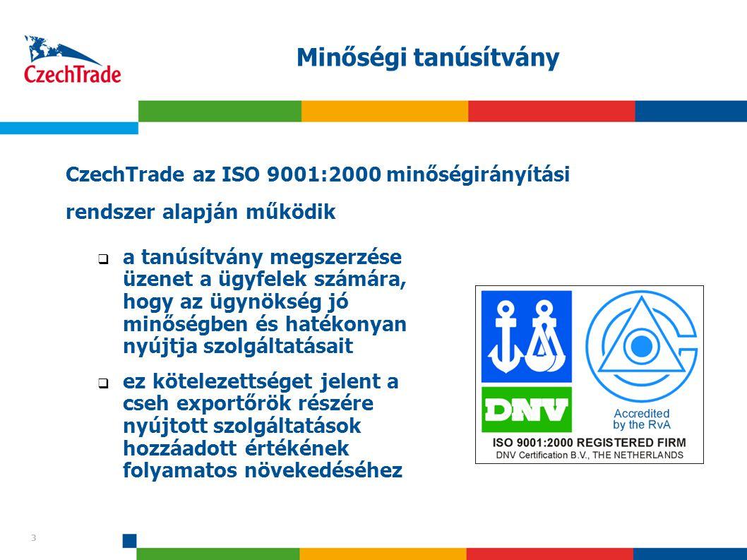 Minőségi tanúsítvány CzechTrade az ISO 9001:2000 minőségirányítási