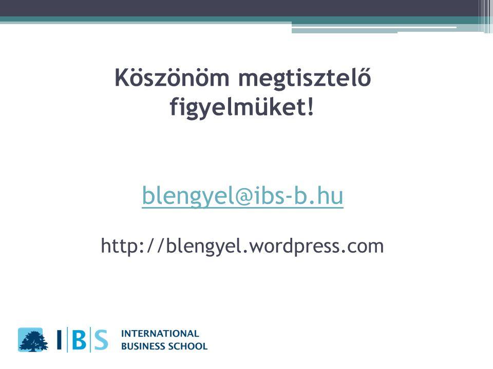 Köszönöm megtisztelő figyelmüket. blengyel@ibs-b. hu http://blengyel