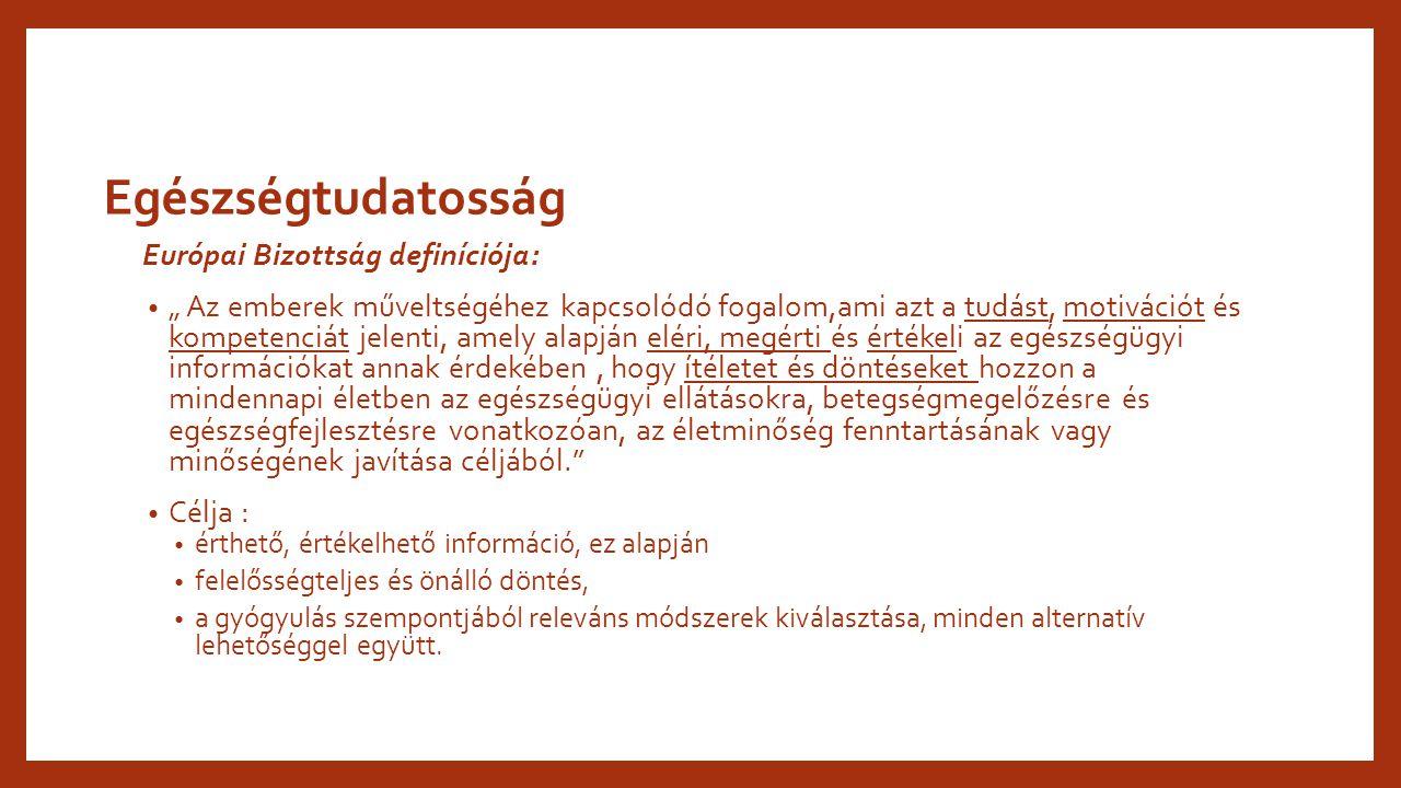 Egészségtudatosság Európai Bizottság definíciója: