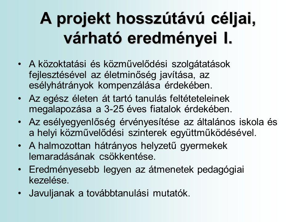 A projekt hosszútávú céljai, várható eredményei I.