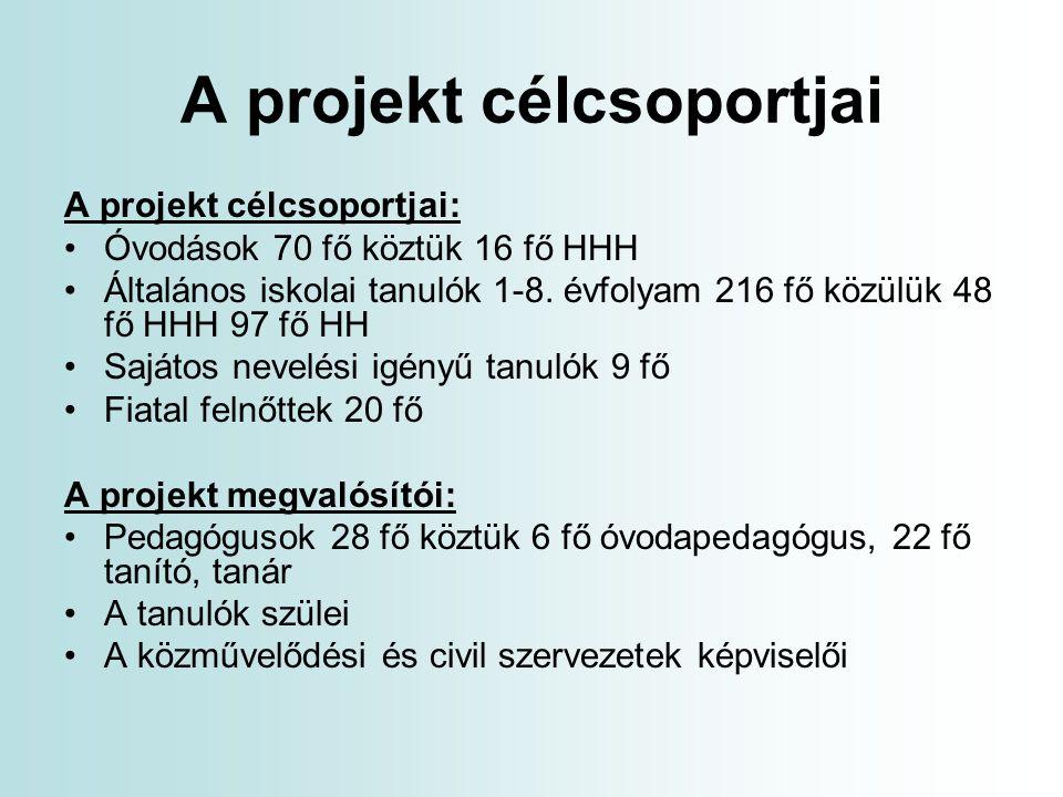 A projekt célcsoportjai