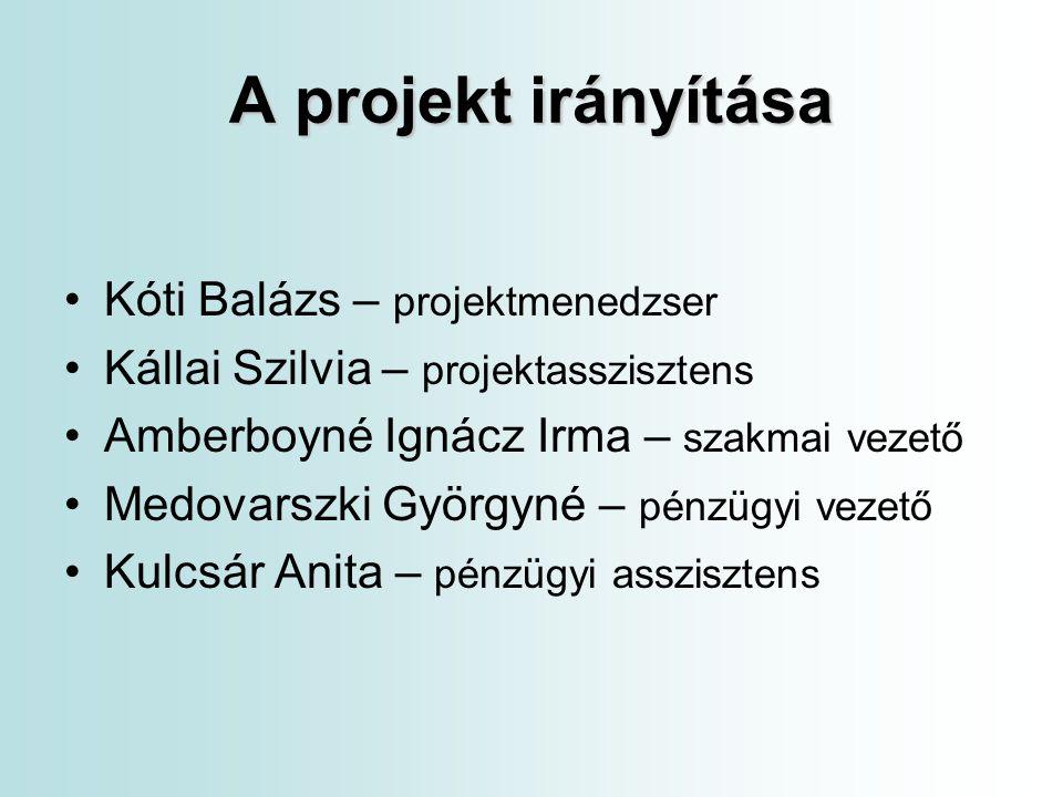 A projekt irányítása Kóti Balázs – projektmenedzser
