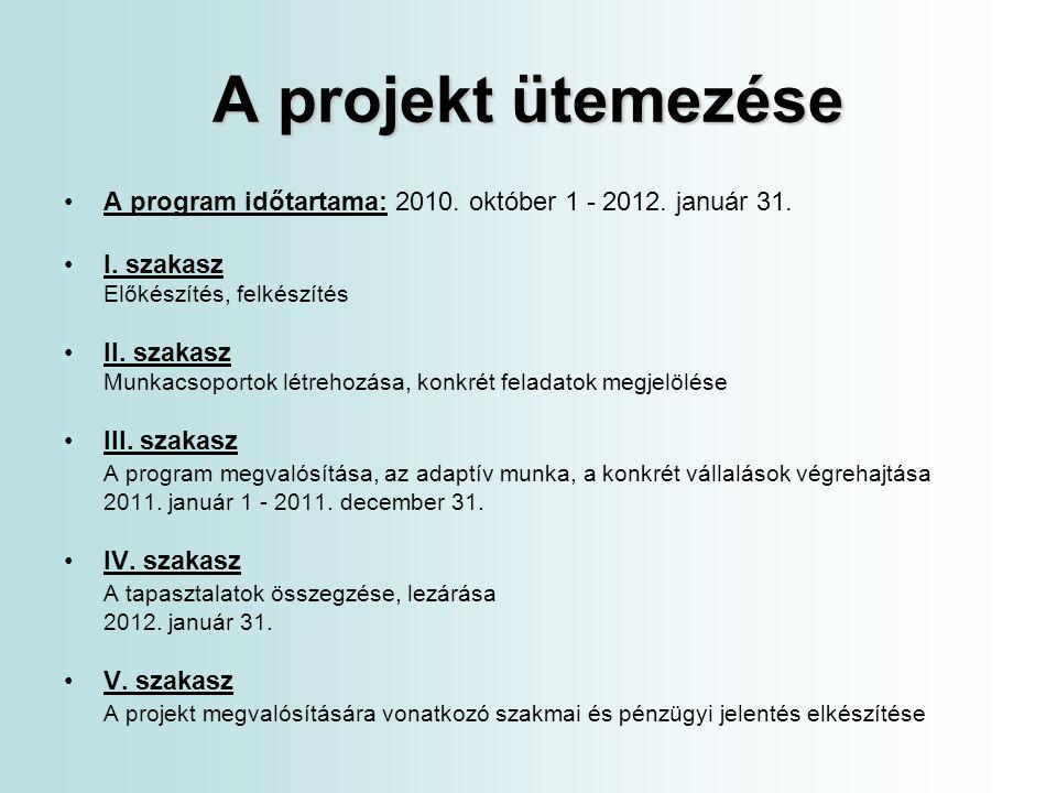 A projekt ütemezése A program időtartama: 2010. október 1 - 2012. január 31. I. szakasz. Előkészítés, felkészítés.
