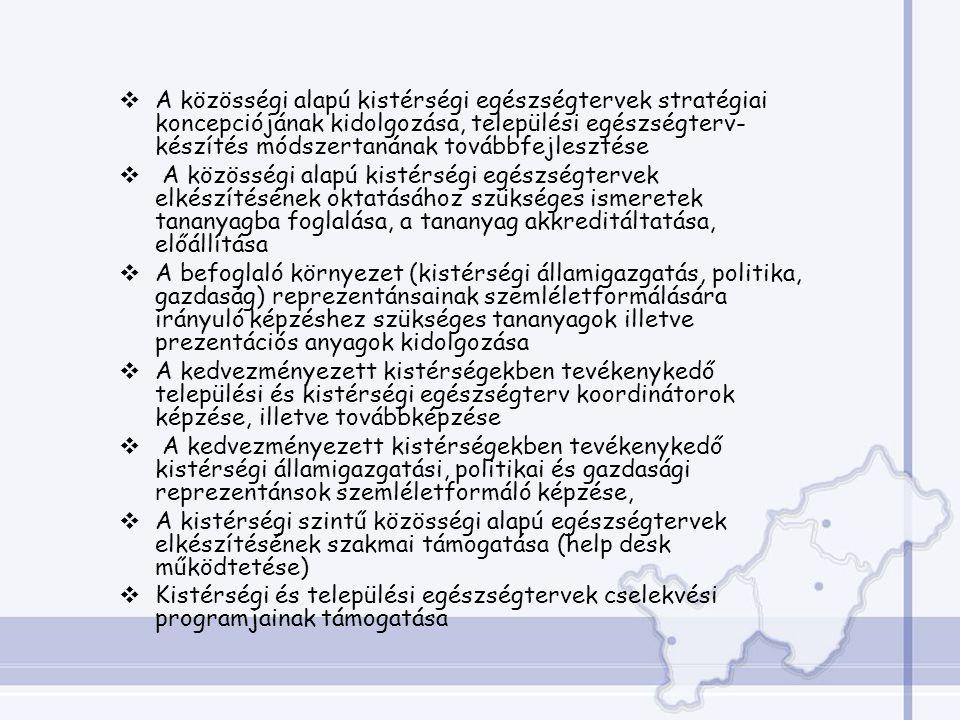 A közösségi alapú kistérségi egészségtervek stratégiai koncepciójának kidolgozása, települési egészségterv-készítés módszertanának továbbfejlesztése