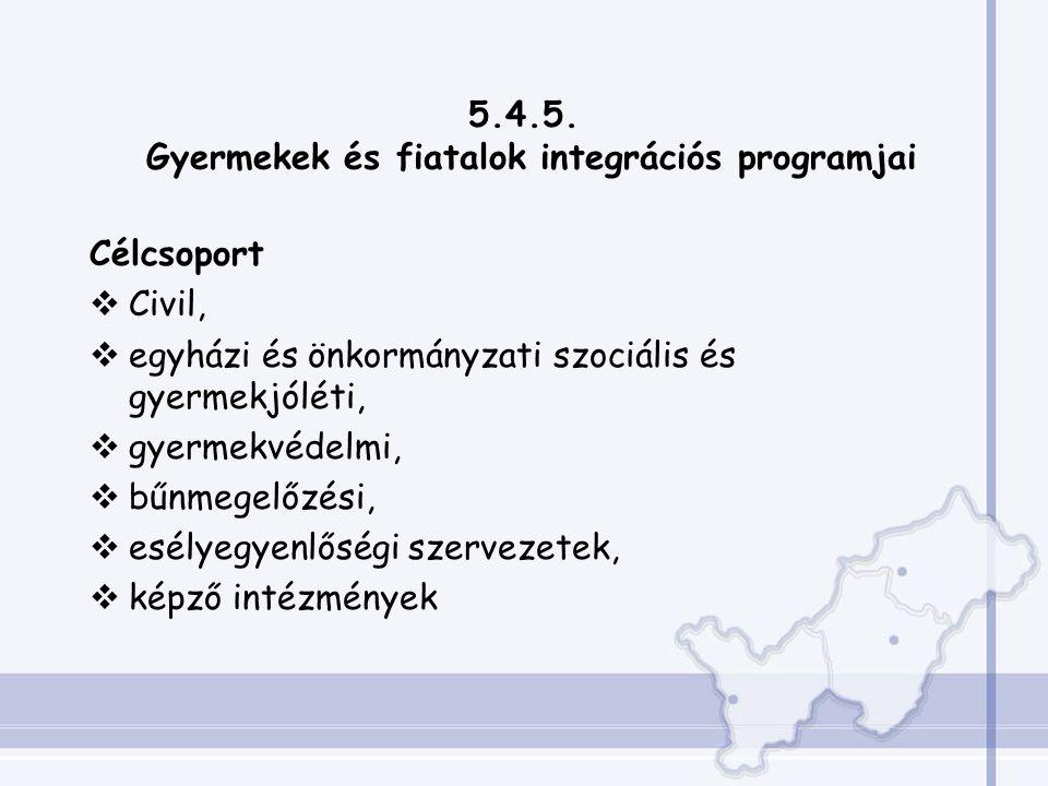 5.4.5. Gyermekek és fiatalok integrációs programjai