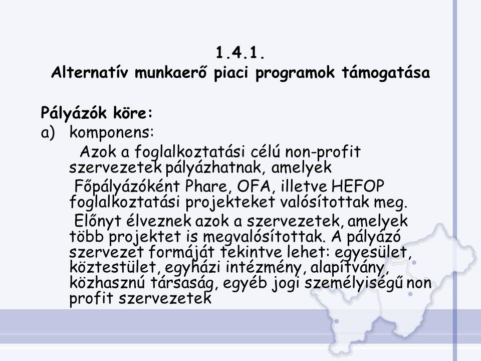 1.4.1. Alternatív munkaerő piaci programok támogatása