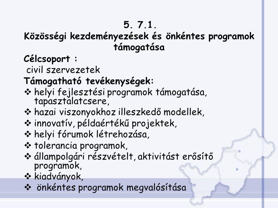 5. 7.1. Közösségi kezdeményezések és önkéntes programok támogatása