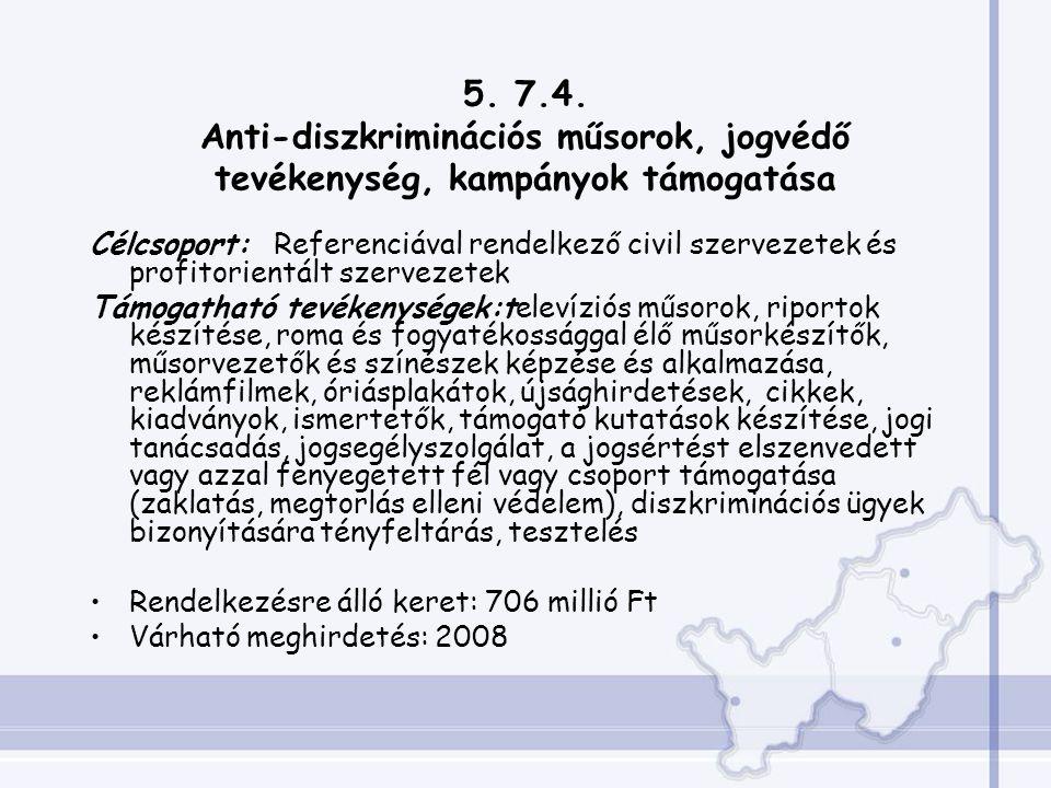 5. 7.4. Anti-diszkriminációs műsorok, jogvédő tevékenység, kampányok támogatása