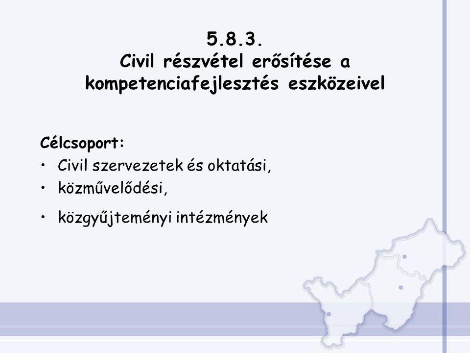 5.8.3. Civil részvétel erősítése a kompetenciafejlesztés eszközeivel