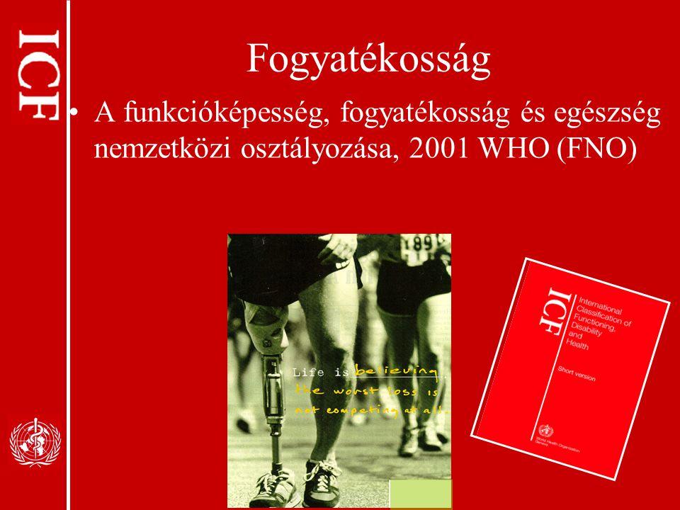 Fogyatékosság A funkcióképesség, fogyatékosság és egészség nemzetközi osztályozása, 2001 WHO (FNO)