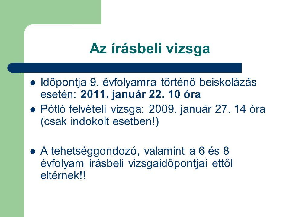 Az írásbeli vizsga Időpontja 9. évfolyamra történő beiskolázás esetén: 2011. január 22. 10 óra.