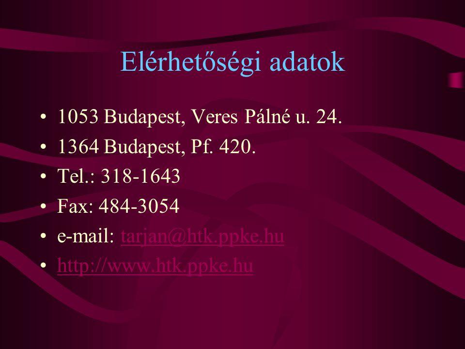 Elérhetőségi adatok 1053 Budapest, Veres Pálné u. 24.
