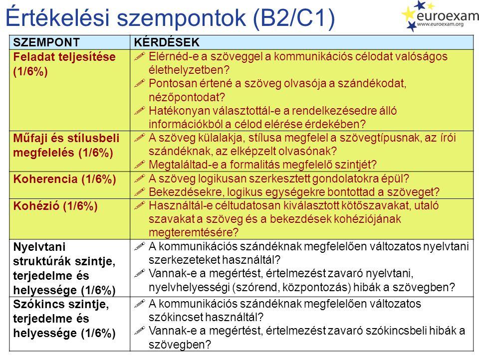 Értékelési szempontok (B2/C1)