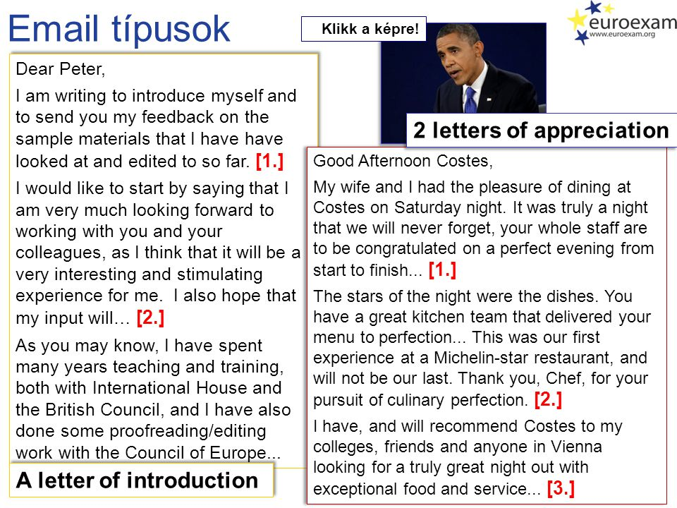 Email típusok 2 letters of appreciation A letter of introduction