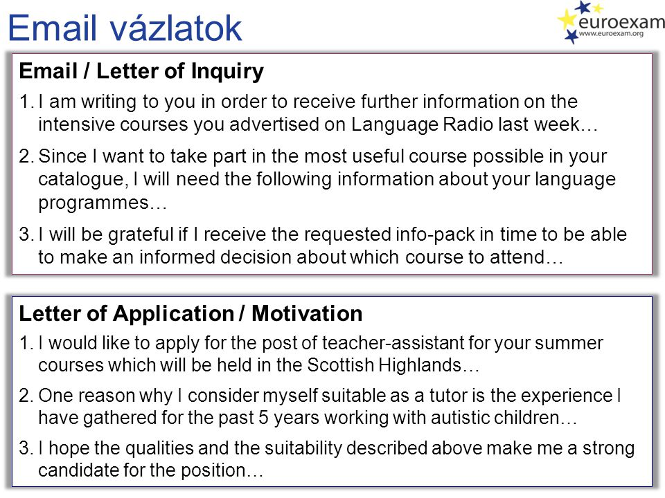 Email vázlatok Email / Letter of Inquiry