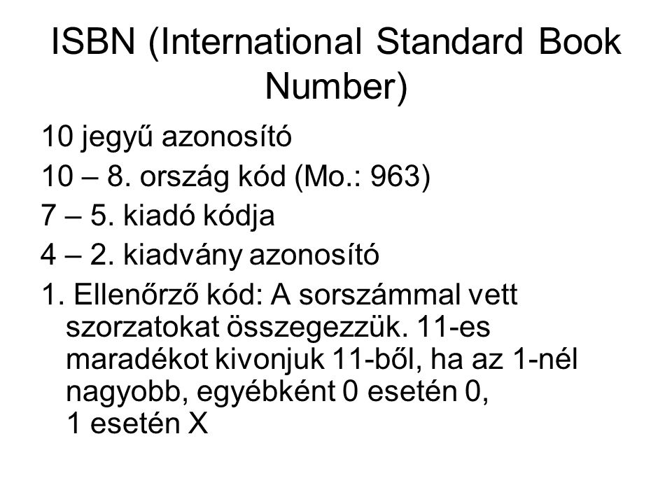 ISBN (International Standard Book Number)