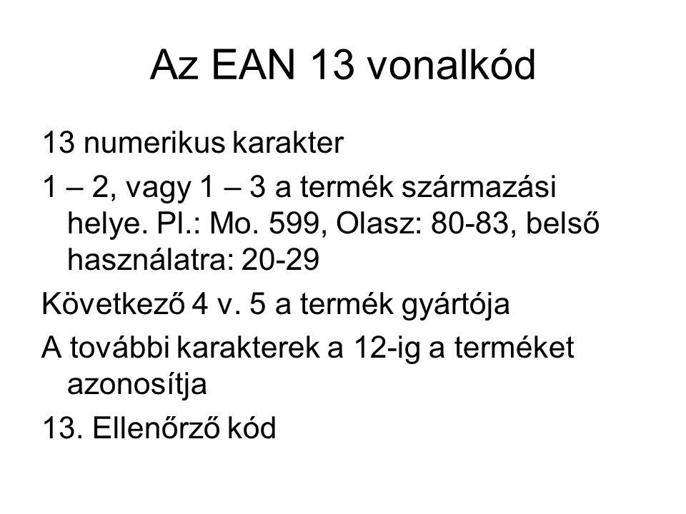 Az EAN 13 vonalkód 13 numerikus karakter