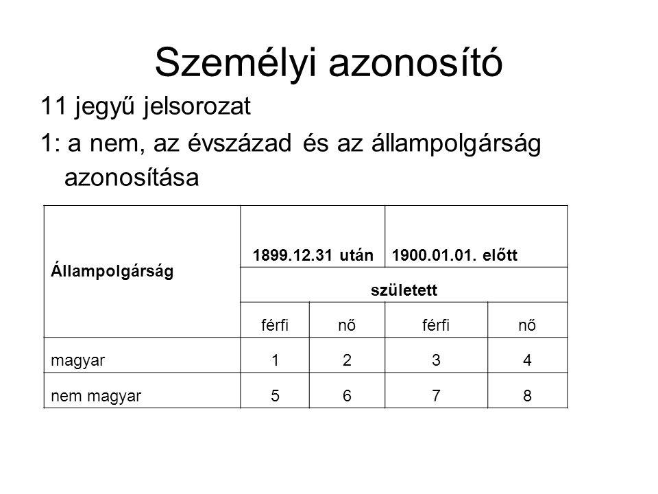 Személyi azonosító 11 jegyű jelsorozat