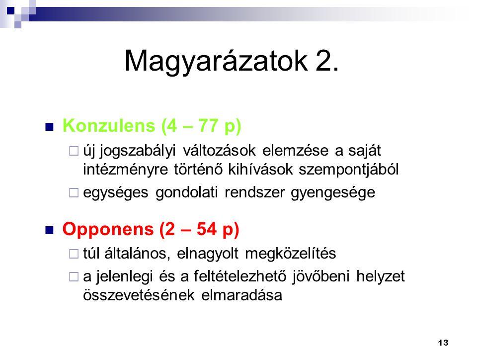 Magyarázatok 2. Konzulens (4 – 77 p) Opponens (2 – 54 p)