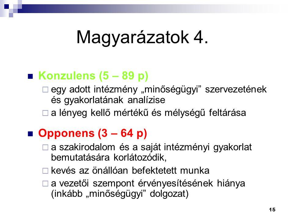 Magyarázatok 4. Konzulens (5 – 89 p) Opponens (3 – 64 p)