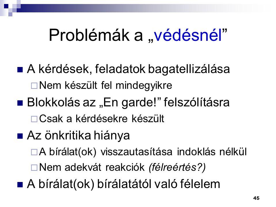 """Problémák a """"védésnél"""
