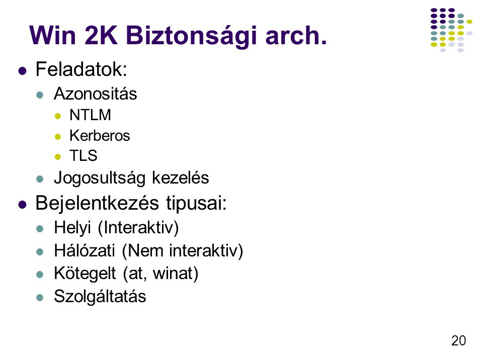 Win 2K Biztonsági arch. Feladatok: Bejelentkezés tipusai: Azonositás