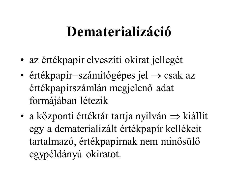 Dematerializáció az értékpapír elveszíti okirat jellegét