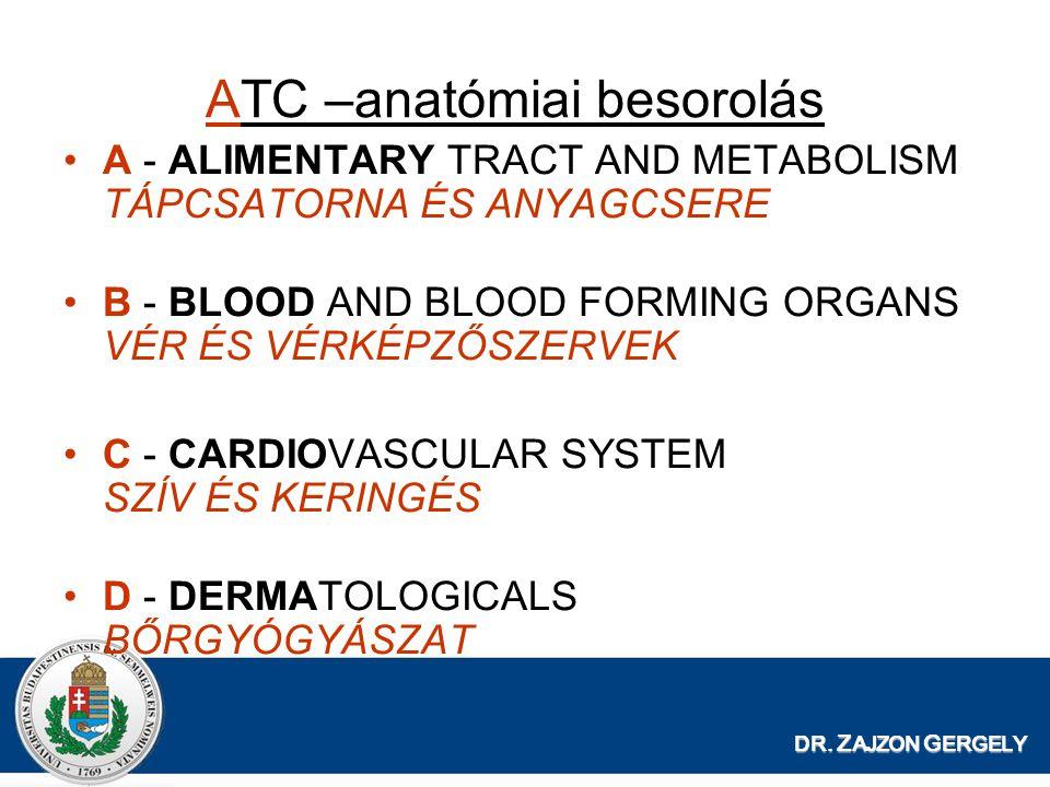 ATC –anatómiai besorolás