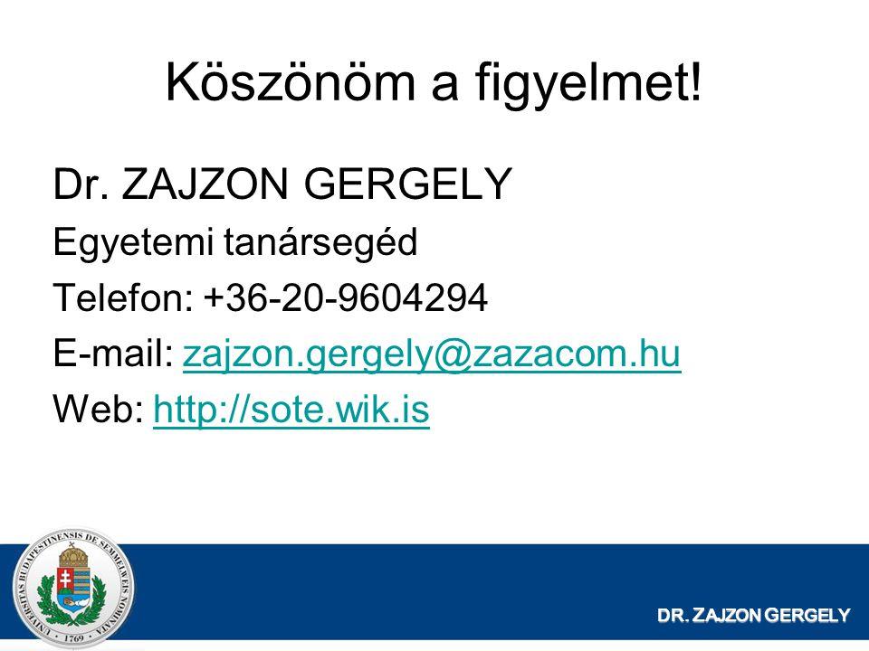 Köszönöm a figyelmet! Dr. ZAJZON GERGELY Egyetemi tanársegéd