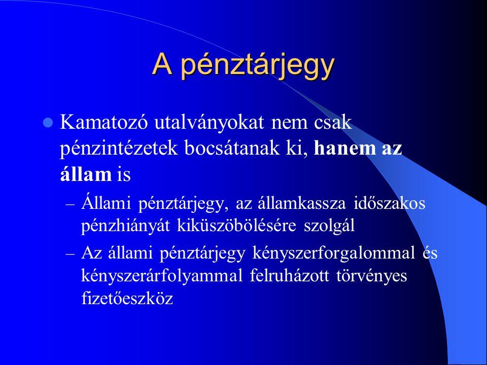 A pénztárjegy Kamatozó utalványokat nem csak pénzintézetek bocsátanak ki, hanem az állam is.