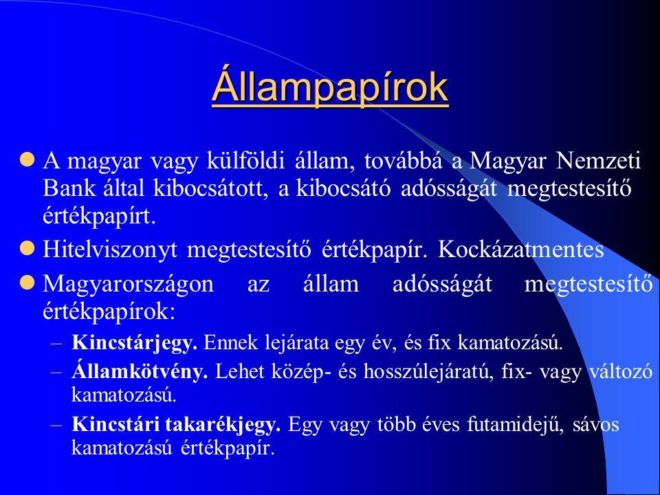 Állampapírok A magyar vagy külföldi állam, továbbá a Magyar Nemzeti Bank által kibocsátott, a kibocsátó adósságát megtestesítő értékpapírt.