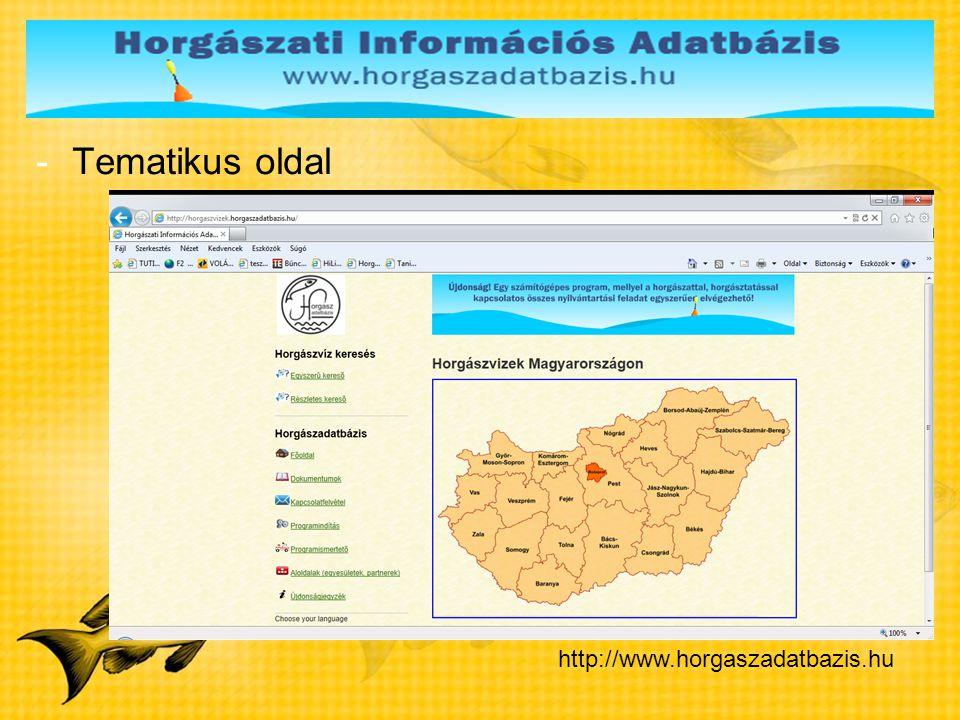Tematikus oldal http://www.horgaszadatbazis.hu