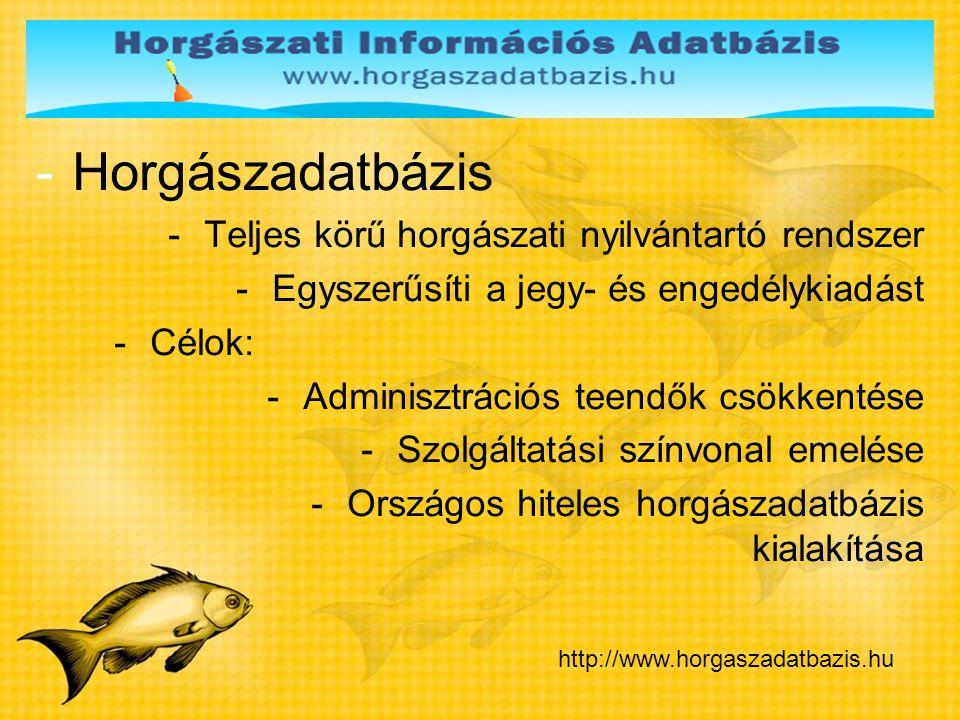 Horgászadatbázis Teljes körű horgászati nyilvántartó rendszer