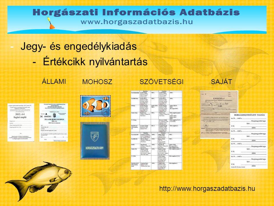 Jegy- és engedélykiadás Értékcikk nyilvántartás