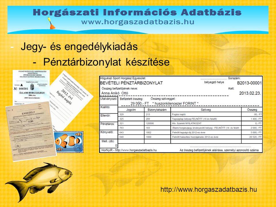 Jegy- és engedélykiadás Pénztárbizonylat készítése