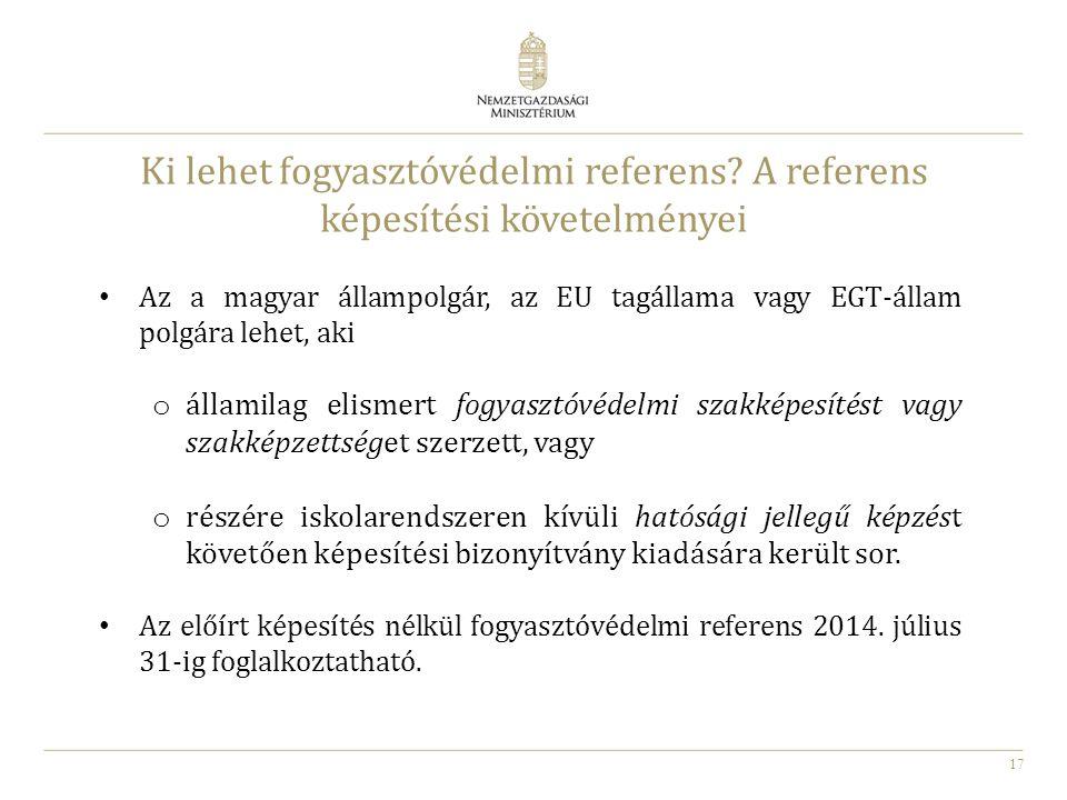 Ki lehet fogyasztóvédelmi referens A referens képesítési követelményei