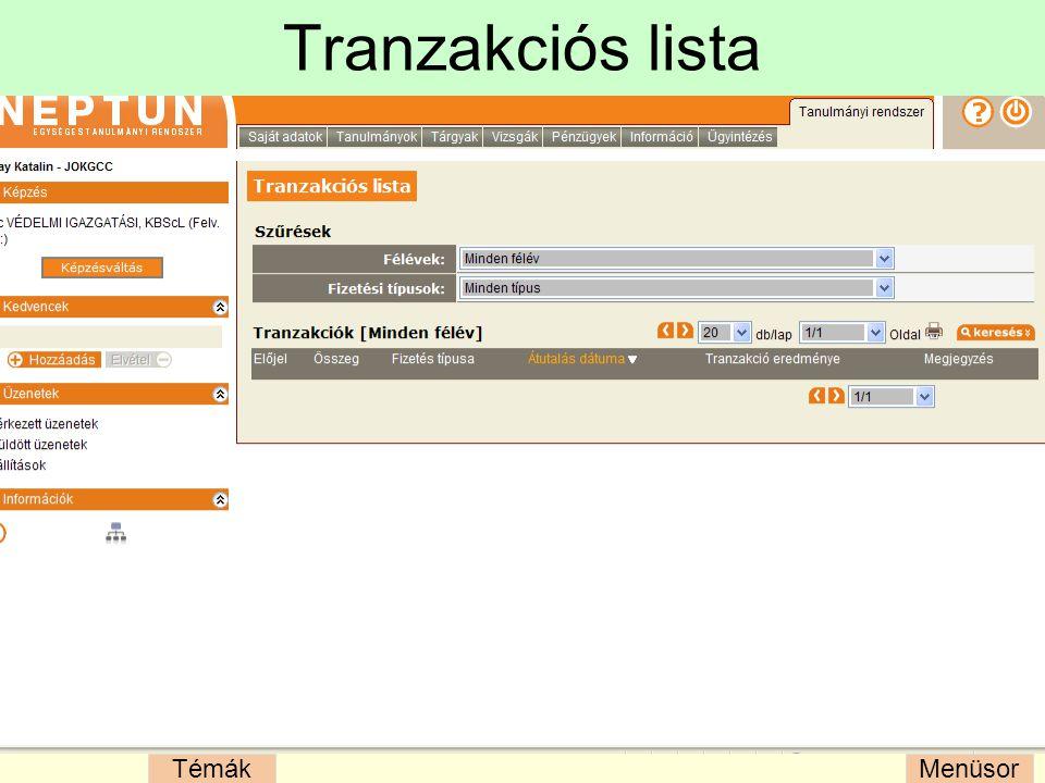 Tranzakciós lista
