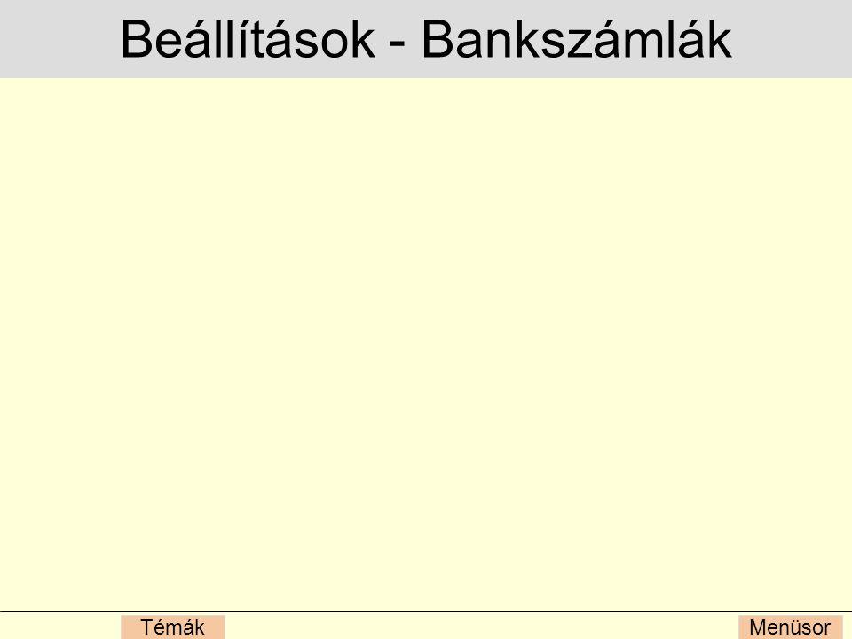 Beállítások - Bankszámlák