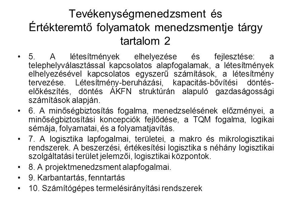 Tevékenységmenedzsment és Értékteremtő folyamatok menedzsmentje tárgy tartalom 2
