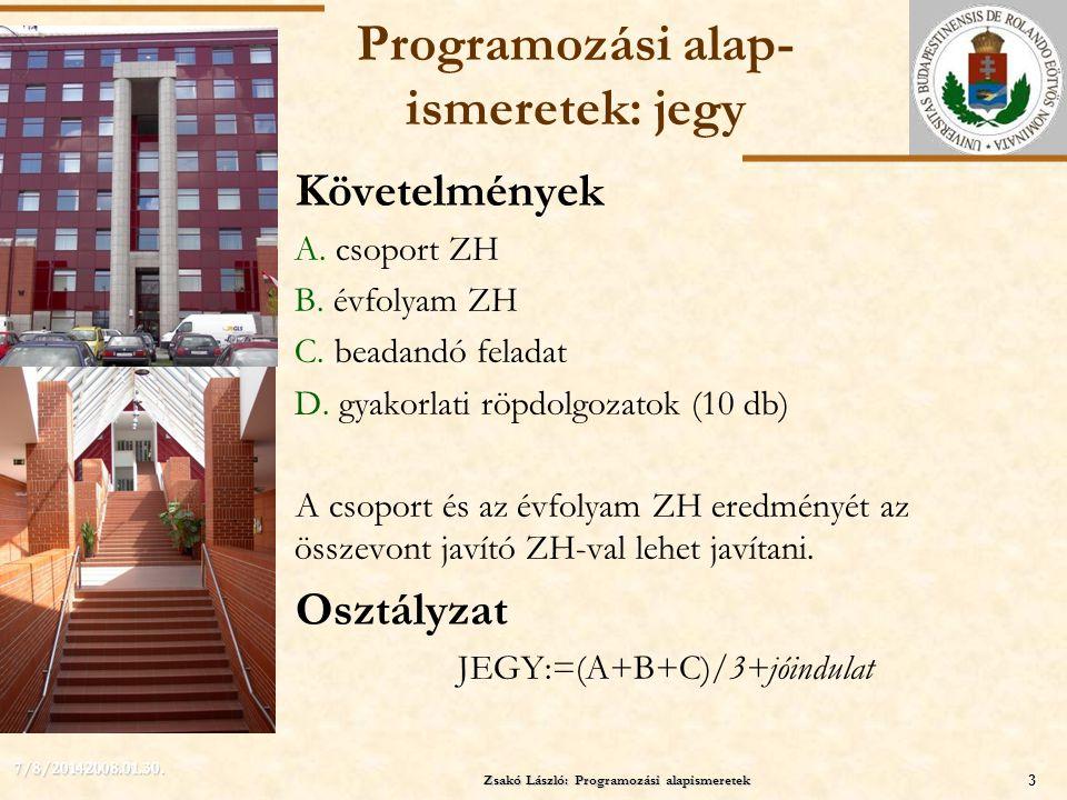 Programozási alap-ismeretek: jegy
