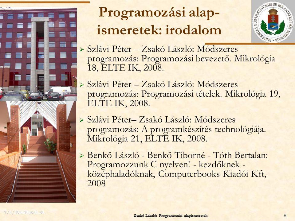 Programozási alap-ismeretek: irodalom
