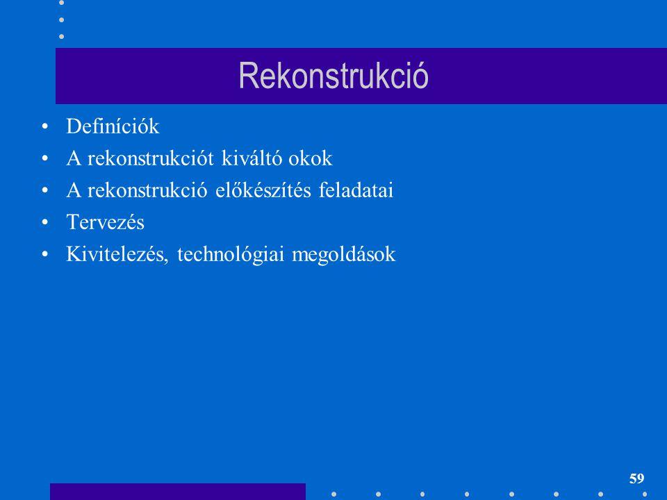 Rekonstrukció Definíciók A rekonstrukciót kiváltó okok