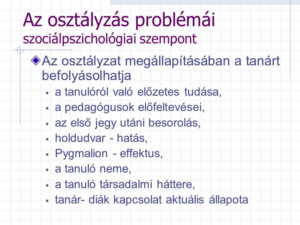Az osztályzás problémái szociálpszichológiai szempont