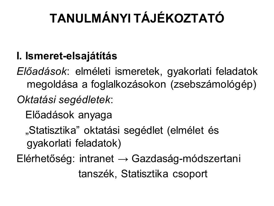 TANULMÁNYI TÁJÉKOZTATÓ