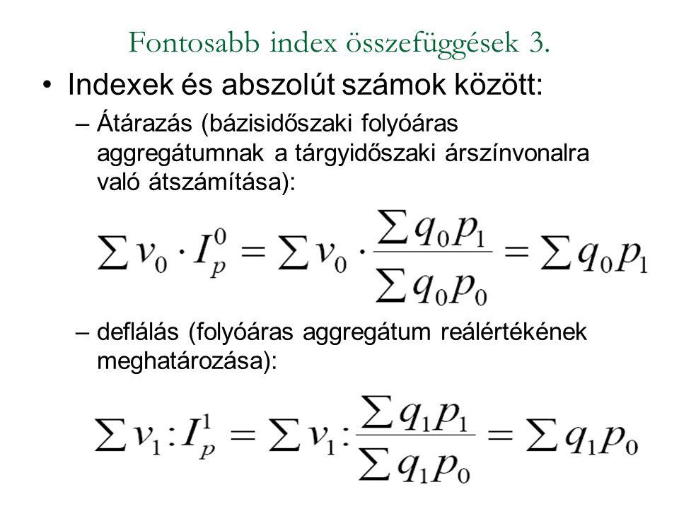 Fontosabb index összefüggések 3.