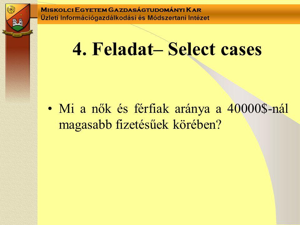 4. Feladat– Select cases Mi a nők és férfiak aránya a 40000$-nál magasabb fizetésűek körében